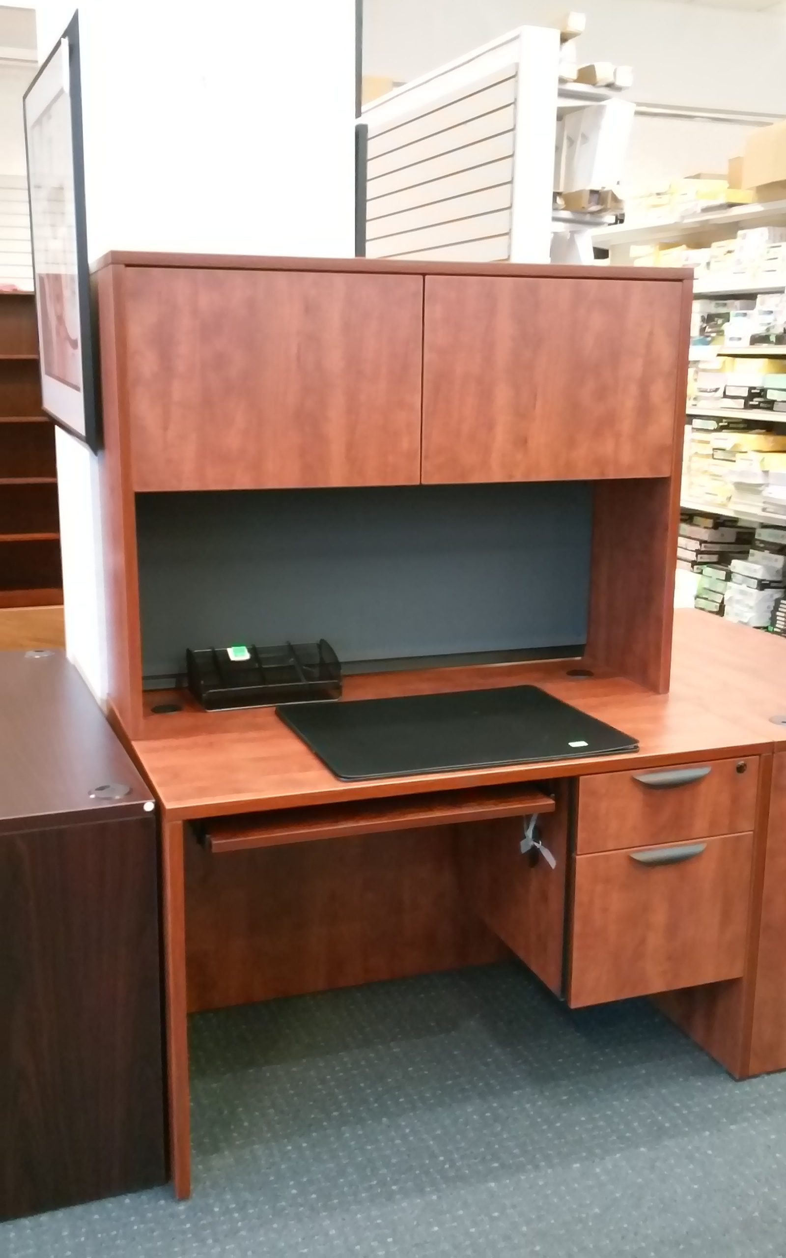 Office Source Desk w/ Box/File, Tack Board, Keyboard Tray and Hutch