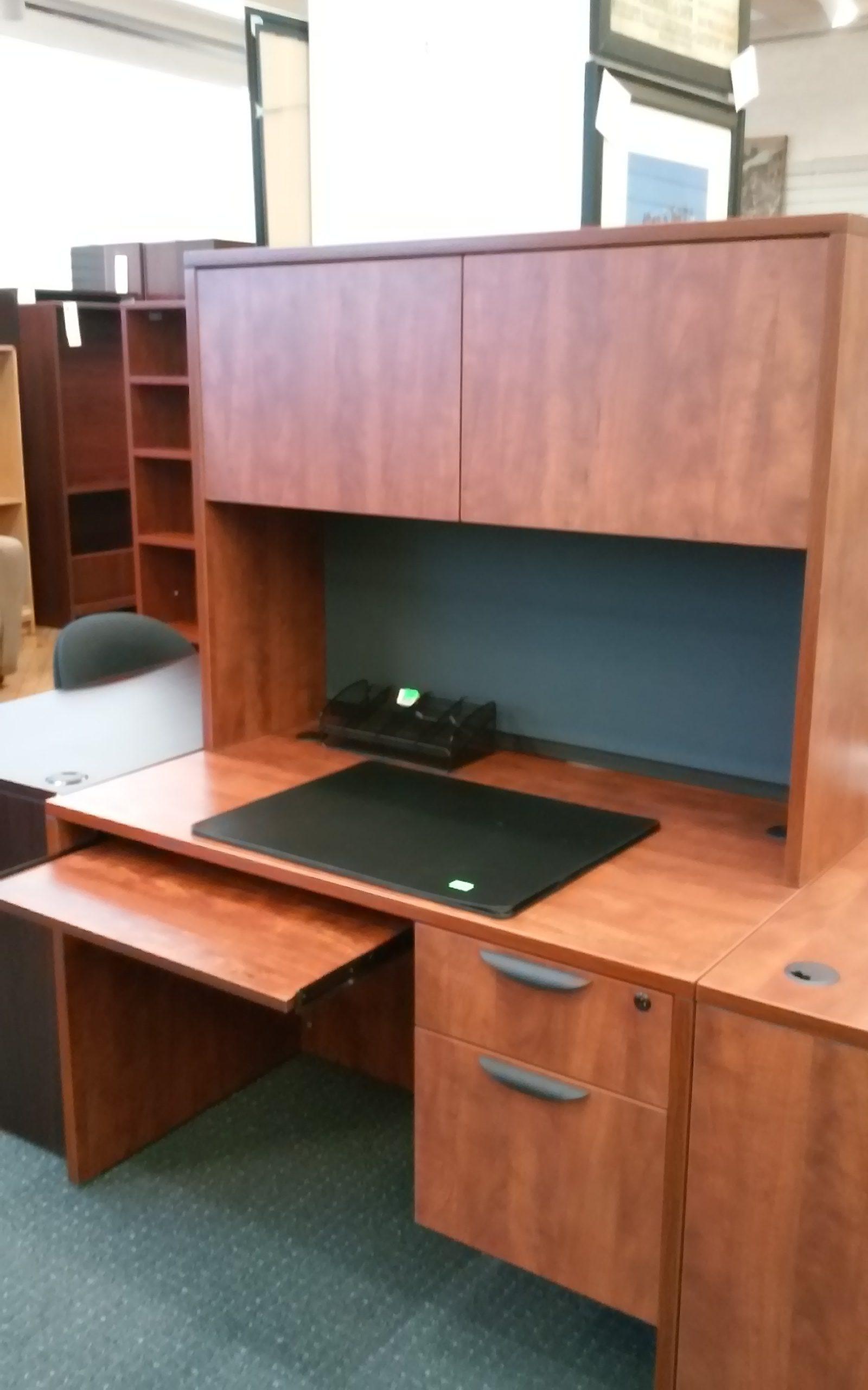 Office Source Desk W Box File Tack Board Keyboard Tray