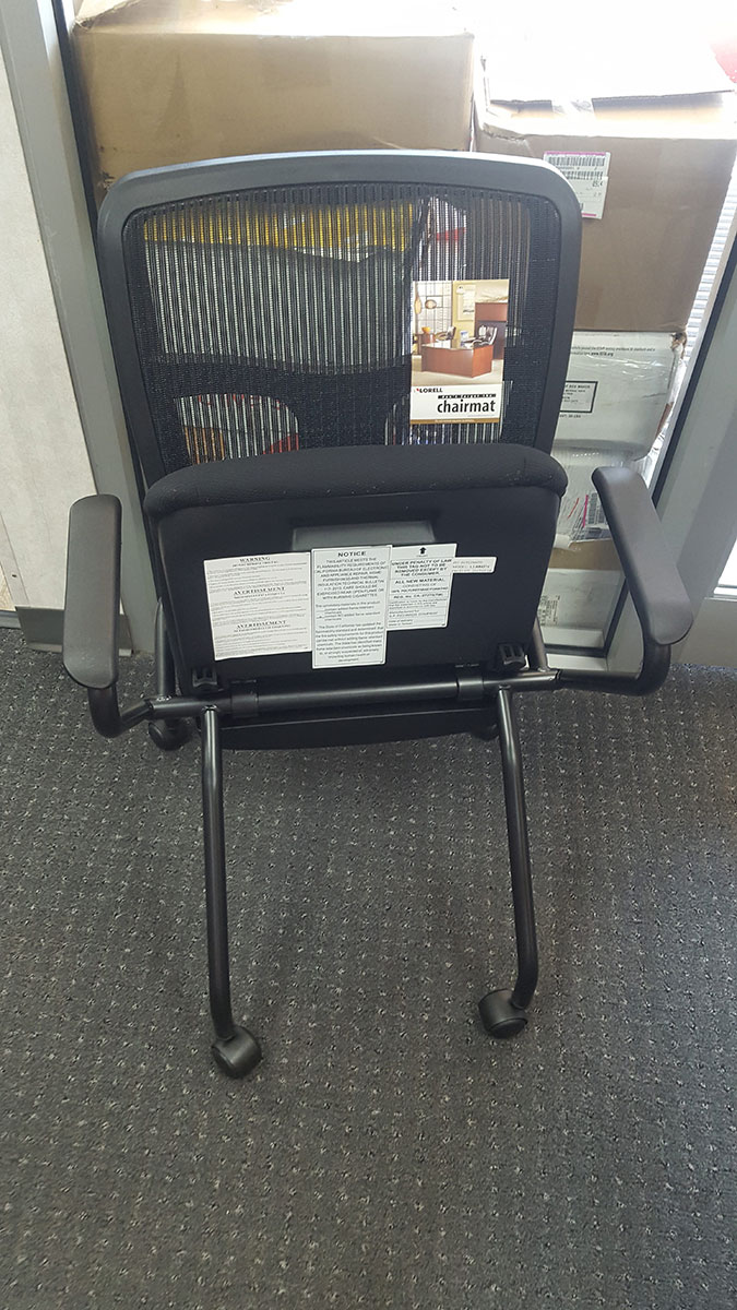 lorell mesh back  fabric seat nesting chair  sold as set of 2