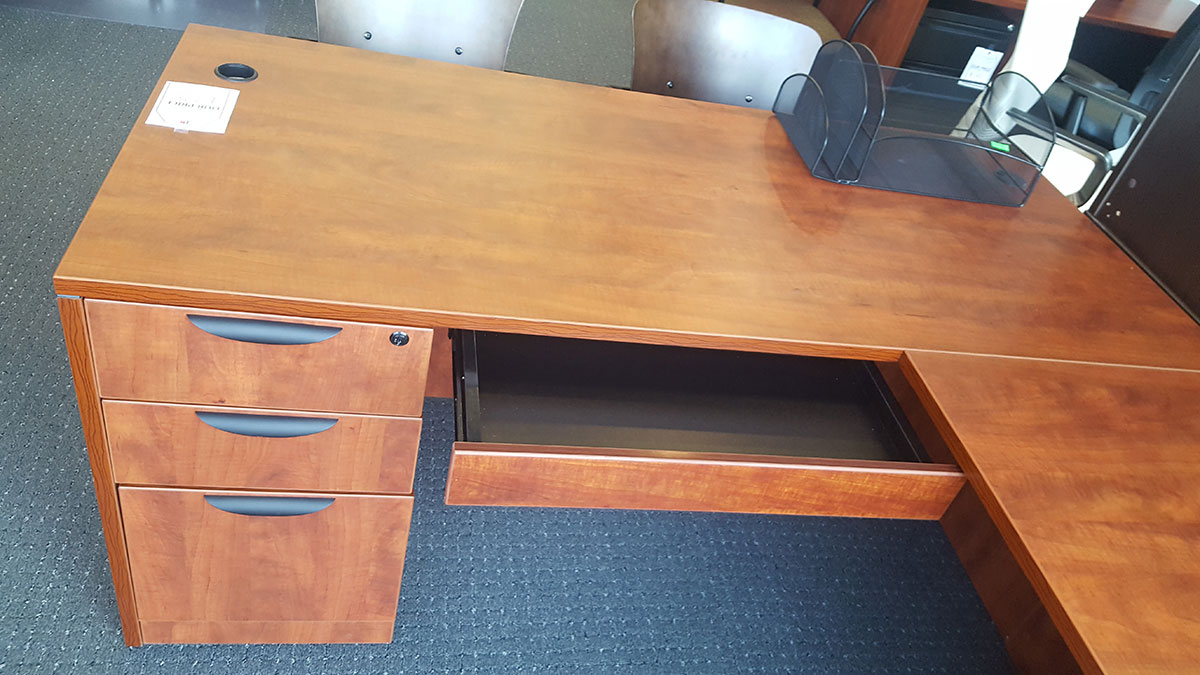 office source  quot l quot  shaped desk with file  file   box  box
