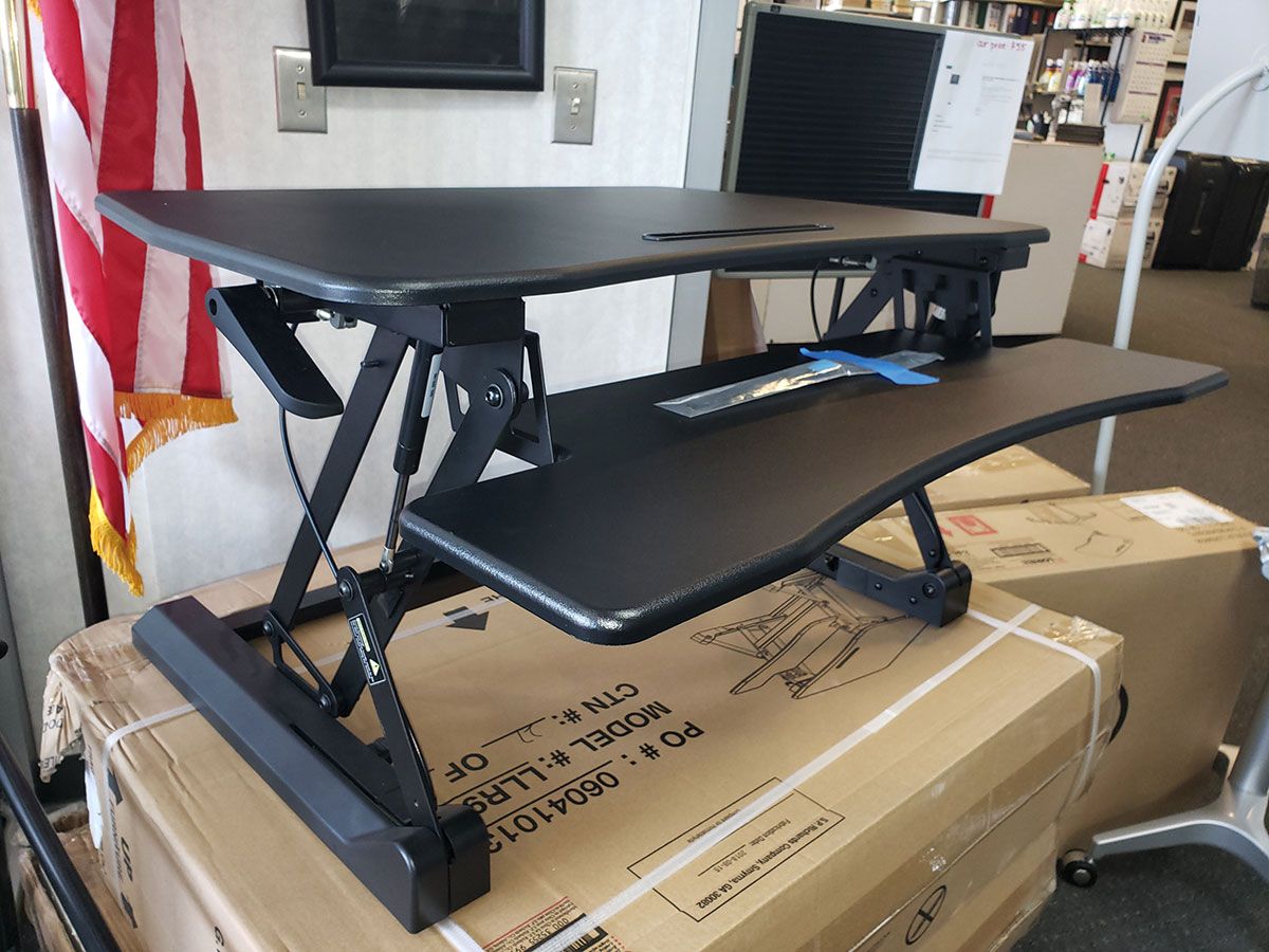 Lorell Sit To Stand Gas Lift Desk Riser Black Laber S
