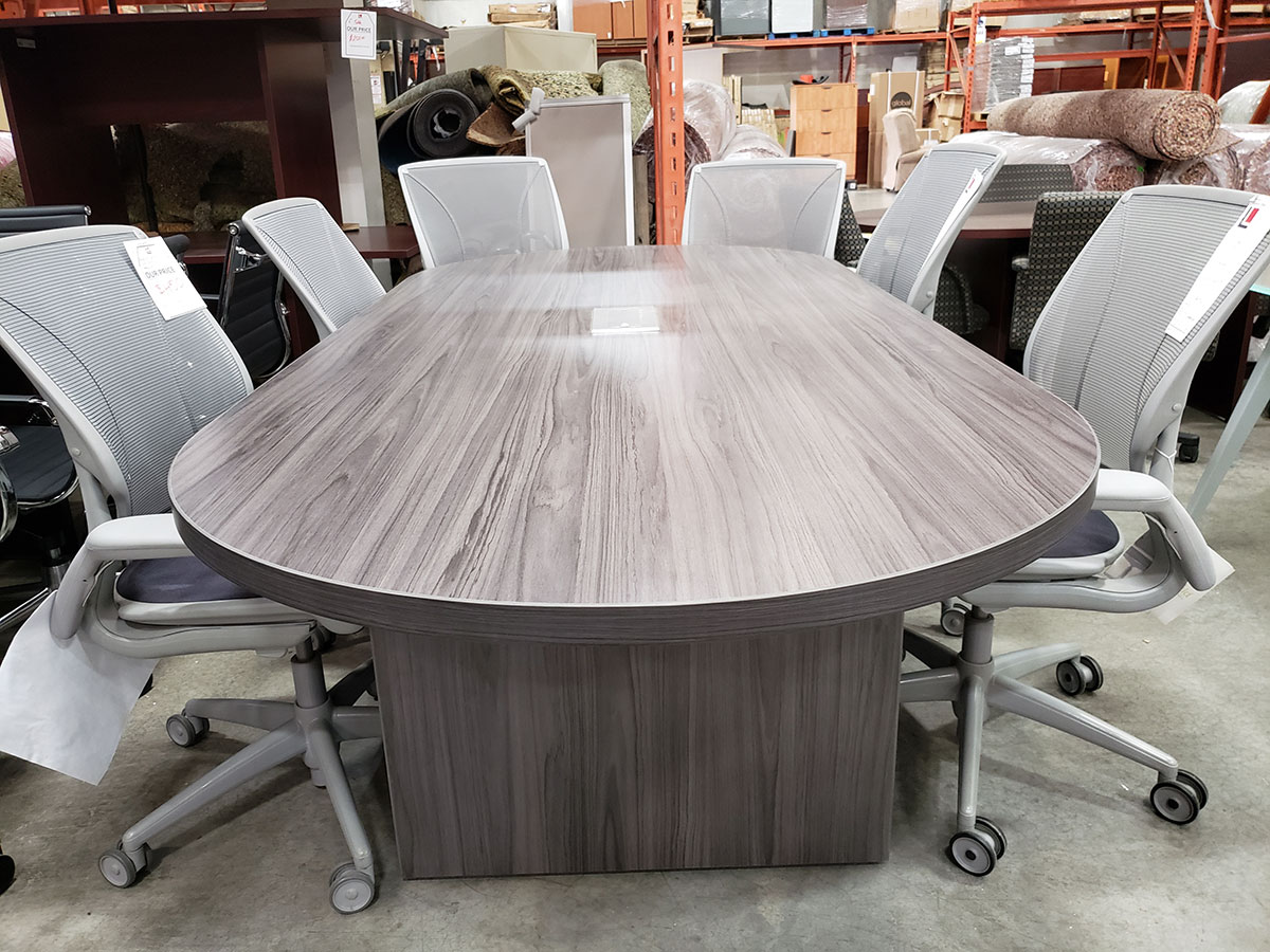 Office Source 8 Racetrack Conference Table Coastal Gray