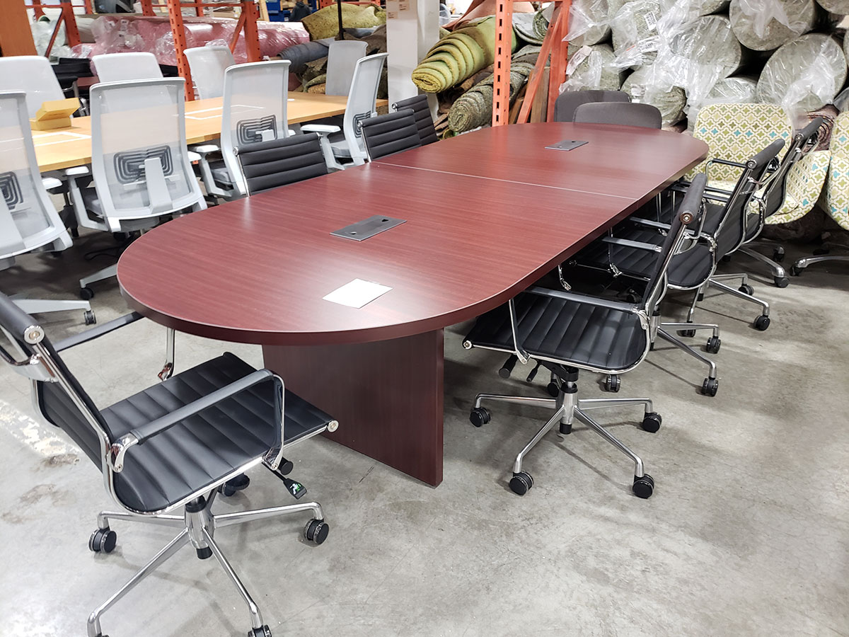 Picture of: Office Source 10 Racetrack Conference Table W Slab Base Laber S Furniture